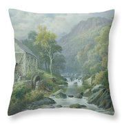 Old Disused Mill Dolgelly Throw Pillow