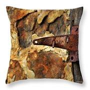 Old Door Hinge Throw Pillow