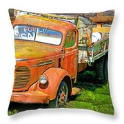 Old Dumptruck On Brick Background-ca Throw Pillow