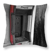 Old Empty Phone Booth Throw Pillow