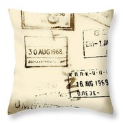 Old Entry And Exit Travel Stamps Throw Pillow