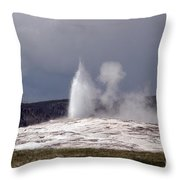 Old Faithful Letting Off Some Steam Throw Pillow