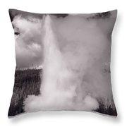 Old Faithful Yellowstone Bw Throw Pillow