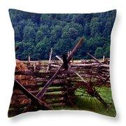 Old Farm Hay Rake Throw Pillow