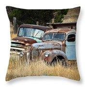 Old Farm Trucks Throw Pillow