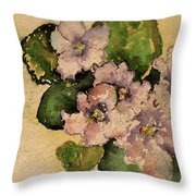Old-fashioned African Violets Throw Pillow