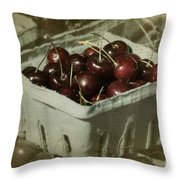 Old Fashioned Cherries Throw Pillow