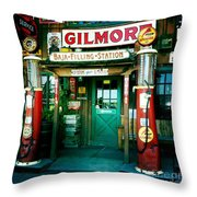 Old Fashioned Filling Station Throw Pillow