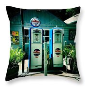 Old Fashioned Gas Station Throw Pillow