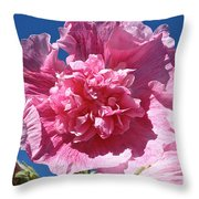 Old Fashioned Hollyhock Throw Pillow