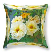 Old Fashioned Yellow Rose - Mirror Box Throw Pillow
