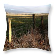 Old Fence And Landscape At Point Reyes California . 7d9968 Throw Pillow