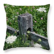 Old Fence And Wildflowers Throw Pillow