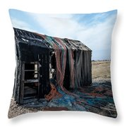 Old Fishermans Hut Throw Pillow