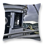 Old Fishing Boat Cabin Throw Pillow