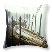 Old Fishing Boat No Longer In Use At Throw Pillow