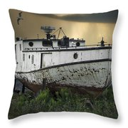 Old Fishing Boat On Shore With Storm Moving In Throw Pillow