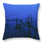 Old Fishing Platform Over Water At Dusk Throw Pillow
