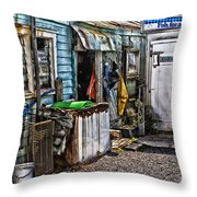 Old Fishing Store At Rawehe Throw Pillow