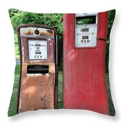 Old Gas Station Pumps Throw Pillow
