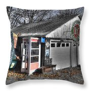 Old Gas Station Signs And A Soon To Be Outdated Phone Booth Throw Pillow
