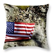 Old Glory On A Rock Throw Pillow