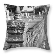Old Graveyard Fence In Black And White Throw Pillow