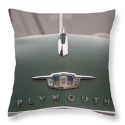 Old Green Plymouth Throw Pillow