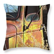 Old Green Truck Door Throw Pillow