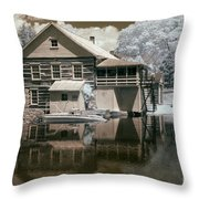Old Grist Mill In Infrared Throw Pillow