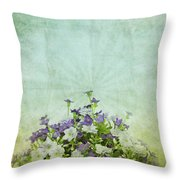 Old Grunge Paper Flowers Pattern Throw Pillow