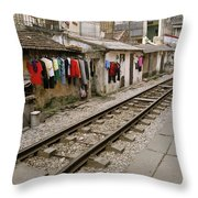 Old Hanoi By The Tracks Throw Pillow