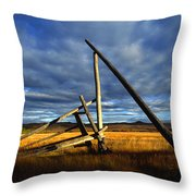 Old Homestead Near Pelly Crossing Throw Pillow