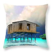 Old House Near The Storm Filtered Throw Pillow
