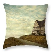 Old House On Rural Road Throw Pillow