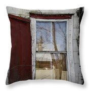 Old House Red Shutter 1 Throw Pillow