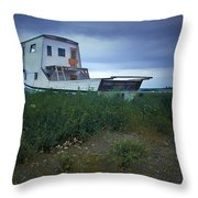 Old Houseboat On A Minnesota Shore On Lake Superior Throw Pillow