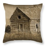 Old Hunting Cabin - Wyoming Throw Pillow by Donna Greene