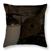 Old Items On A Stone Hearth 1 Throw Pillow