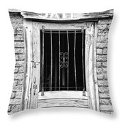 Old Jailhouse Door In Black And White Throw Pillow