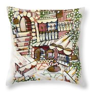 Old Jerusalem Courtyard Modern Artwork In Red White Green And Blue With Rooftops Fences Flowers Throw Pillow