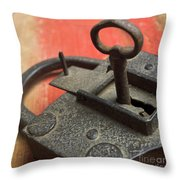 Old Key And Lock Throw Pillow