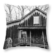 Old Log House Throw Pillow