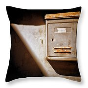 Old Mailbox With Doorbell Throw Pillow