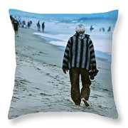 Old Man And The Beach Throw Pillow