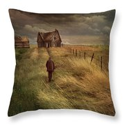 Old Man Walking Up A Path Of Tall Grass With Abandoned House In  Throw Pillow