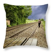 Old Man Walks Along Train Tracks Throw Pillow