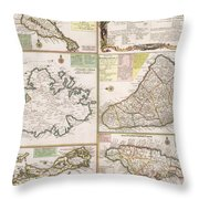 Old Map Of English Colonies In The Caribbean Throw Pillow