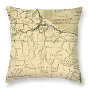 Old Map Of Northern Brazil Throw Pillow by Guillaume Raynal