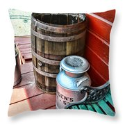 Old Milk Cans And Rain Barrel. Throw Pillow
